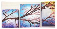 Asian Bloom Triptych Beach Towel