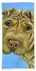 Beautiful Shar-pei Dog Portrait Beach Sheet