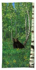 Beach Towel featuring the painting Aspen Bear Nursery by Stanza Widen