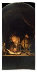 Astronomer By Candlelight Beach Sheet by Gerrit Dou