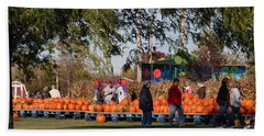 At The Pumpkin Farm Beach Sheet by Kay Novy