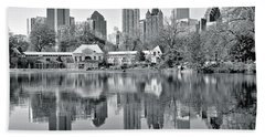 Atlanta Reflecting In Black And White Beach Towel