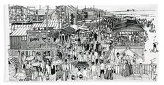 Beach Towel featuring the drawing Atlantic City Boardwalk 1890 by Ira Shander