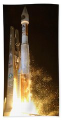 Beach Sheet featuring the photograph Atlas V Rocket Taking Off by Science Source