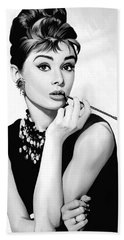 Audrey Hepburn Artwork Beach Towel by Sheraz A