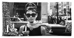 Audrey Hepburn Breakfast At Tiffany's Beach Towel by Georgia Fowler