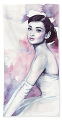 Audrey Hepburn Purple Watercolor Portrait Beach Towel by Olga Shvartsur