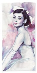 Audrey Hepburn Portrait Beach Towel