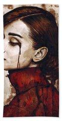Audrey Hepburn - Quiet Sadness Beach Towel