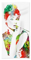 Audrey Hepburn - Watercolor Beach Sheet
