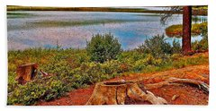 Aunt Betty Pond In Acadia National Park-maine  Beach Sheet