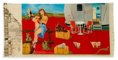 Austin - Camping Mural Beach Towel by Allen Sheffield