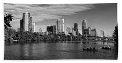 Austin Skyline Bw Beach Towel