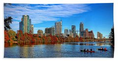 Austin Skyline Painted Beach Towel by Judy Vincent