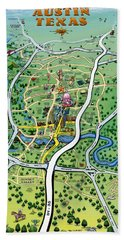 Austin Tx Cartoon Map Beach Towel