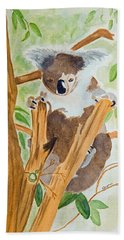 Koala In A Gum Tree  Beach Sheet by Elvira Ingram