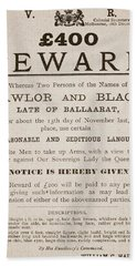 Australian Reward Poster, 1854 Beach Towel