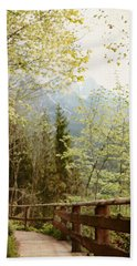 Austrian Woodland Trail And Mountain View Beach Towel