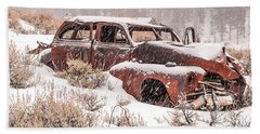 Auto In Snowstorm Beach Sheet by Sue Smith
