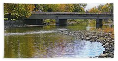 Autumn Along The Fox River Beach Sheet by Kay Novy