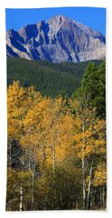 Autumn Aspens And Longs Peak Beach Towel