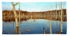 Beach Sheet featuring the photograph Autumn At Lake Jacomo 3   by Ellen Tully
