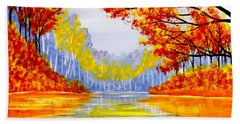 Beach Sheet featuring the painting Autumn At The Lake by Darren Robinson