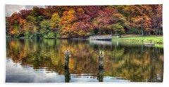 Autumn At The Pond Beach Towel