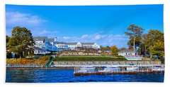 Autumn At The Sagamore Hotel - Lake George New York Beach Sheet by David Patterson
