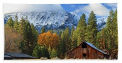 Autumn Barn At Thompson Peak Beach Towel by James Eddy