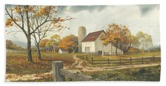Autumn Barn Beach Towel