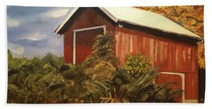Beach Towel featuring the painting Autumn - Barn - Ohio by Jan Dappen