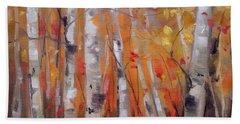 Autumn Birch Beach Sheet by Mary Hubley