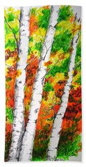 Autumn Birches Beach Towel
