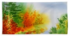 Beach Towel featuring the painting Autumn Burst Of Fall Impressionism by Irina Sztukowski