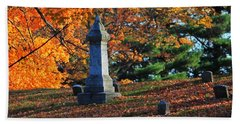 Autumn Cemetery Visit Beach Towel