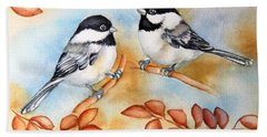 Autumn Chickadees Beach Towel by Inese Poga