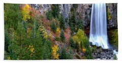 Beach Sheet featuring the photograph Autumn Colors Surround Tumalo Falls by Kevin Desrosiers
