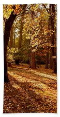 Autumn Country Lane Evening Beach Sheet