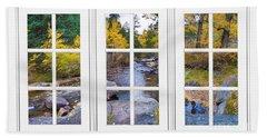 Autumn Creek White Picture Window Frame View Beach Towel