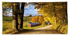 Autumn Farm In Vermont Beach Sheet