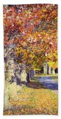 Autumn In Hyde Park Beach Sheet by Joan Carroll