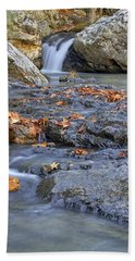 Autumn Leaves At Little Missouri Falls - Arkansas - Waterfall Beach Towel