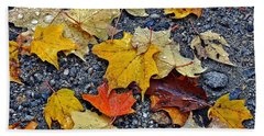 Autumn Leaves In Rain Beach Sheet