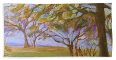 Beach Towel featuring the painting Autumn Leaves by Mary Wolf