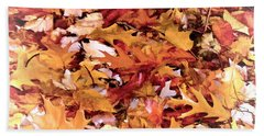 Autumn Leaves On The Ground In New Hampshire In Muted Colors Beach Towel