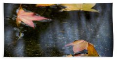Autumn Leaves On Water Beach Towel