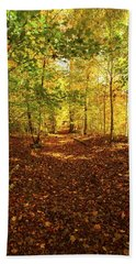 Autumn Leaves Pathway  Beach Towel