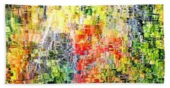Autumn Leaves Reflected In Pond Surface Beach Towel
