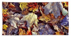 Autumn Leaves With Frost Beach Towel